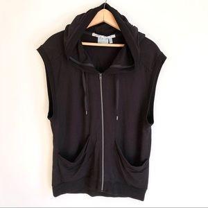 Athleta Oversized Black Full Zip Up Hoodie Vest